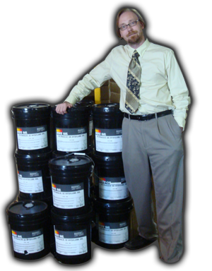 5 gallon pails of various ISO grades of hydraulic fluid.