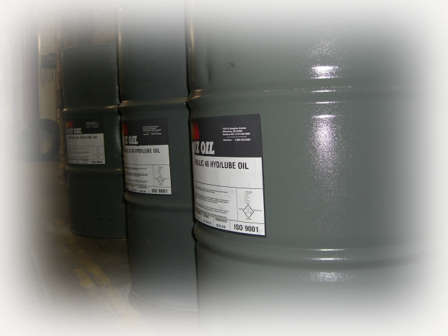 55 gallon drums of various ISO grades of hydraulic fluid.